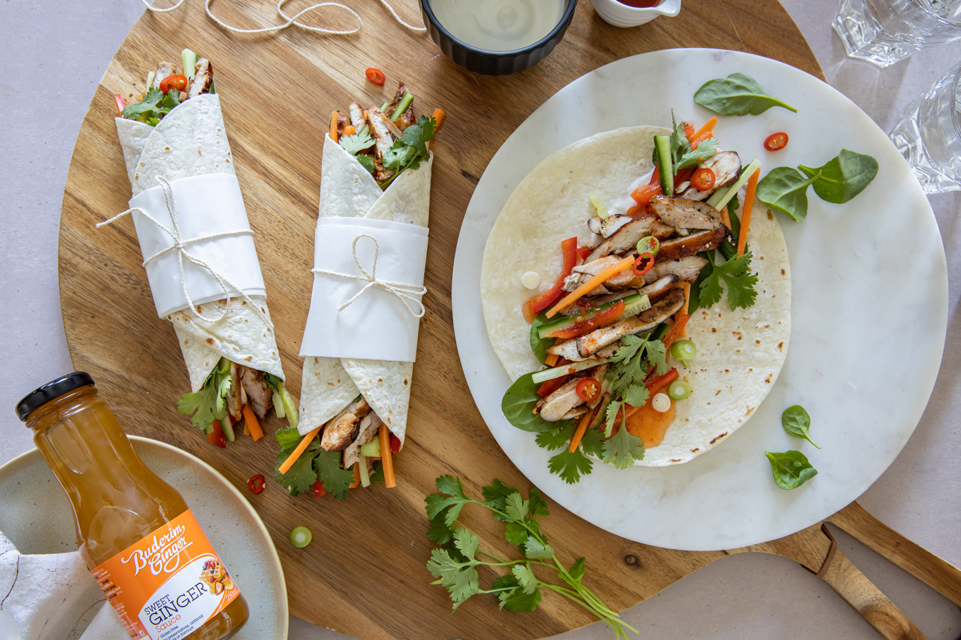 Asian Ginger Chicken Wraps Buderim Ginger