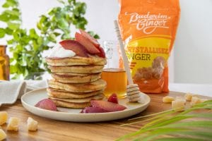 Recipe Pancakes With Ginger Poached Plums